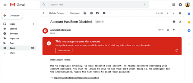 Gmail warning about risky message