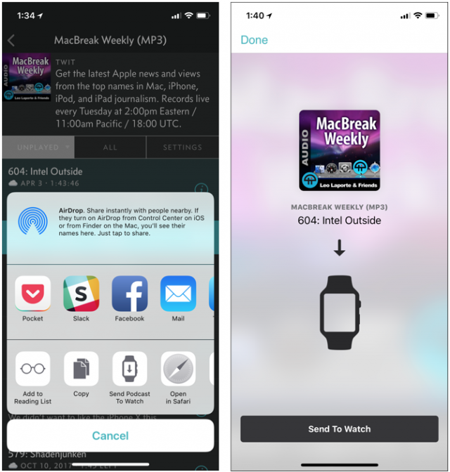 Using the MiniCast iOS app to transfer a podcast to the Apple Watch.