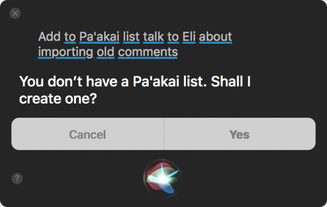 Screenshot of Siri lapsing into Klingon