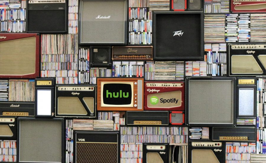 Shelves of old amps and TVs and media