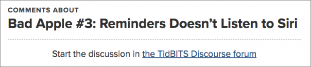 Screenshot of TidBITS Discourse link