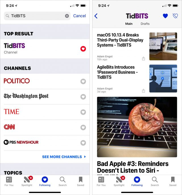 iPhone screenshots of finding TidBITS in Apple News