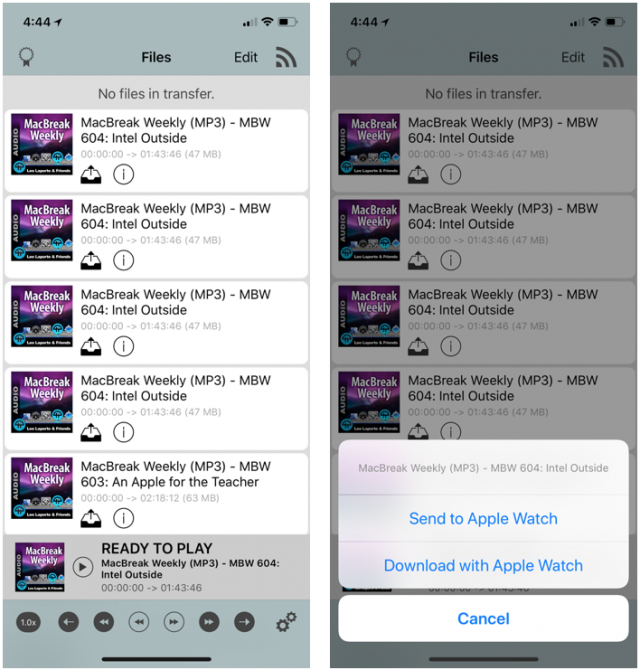 Transferring files from WatchPlayer for iOS to WatchPlayer for watchOS.