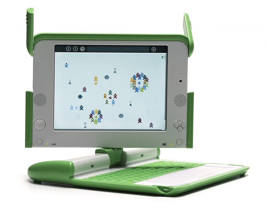 The XO-1 laptop produced by the OLPC project.