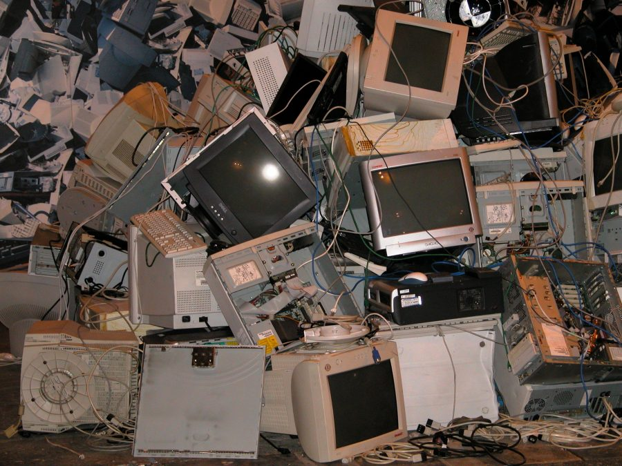 Photo of dead computers and monitors