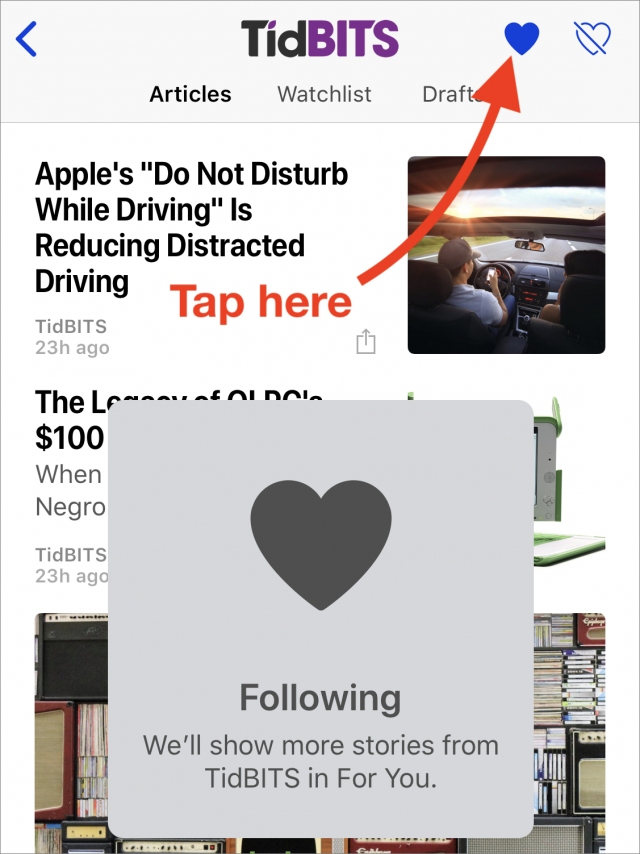 Screenshot of how to follow TidBITS on Apple News