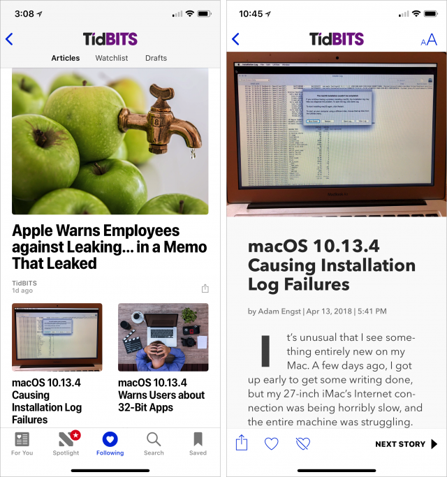 iPhone screenshots of Apple News headline and article screens