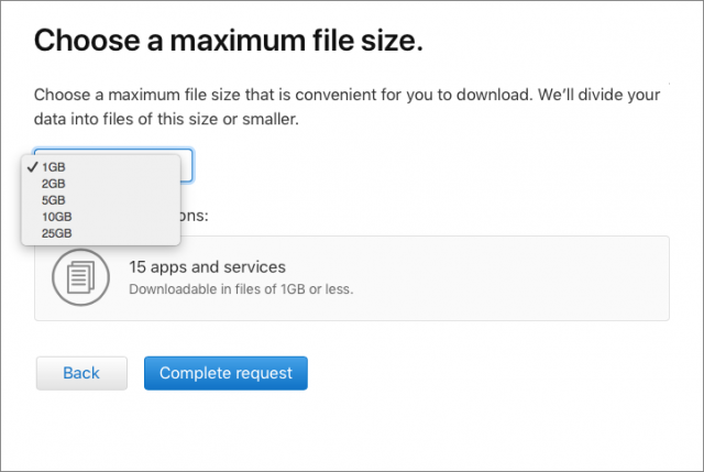 Choosing a maximum file size for the Apple data download