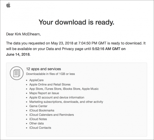 Your download is ready message from Apple
