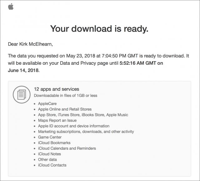 Bericht van Apple dat de download klaarstaat