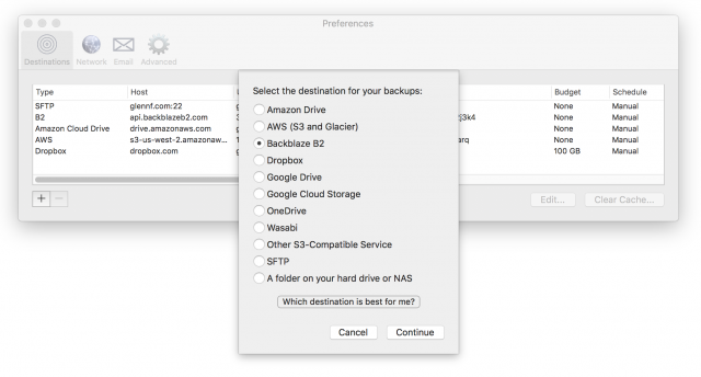 Screenshot of Arq's Preferences dialog.