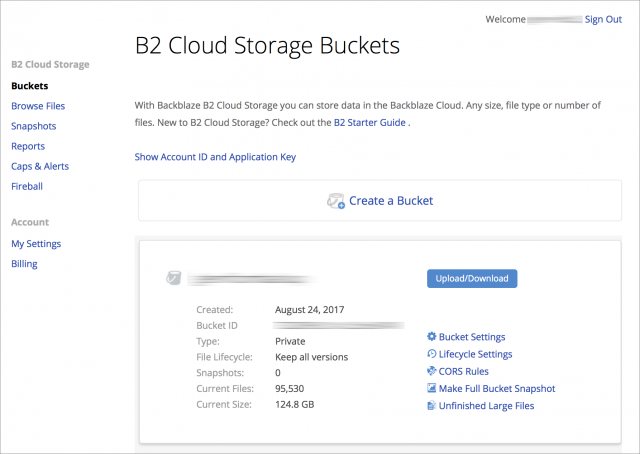 Screenshot of B2 account navigation interface showing B2 Cloud Storage Buckets page and a bucket