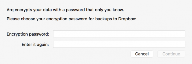 Arq's password-entry dialog box
