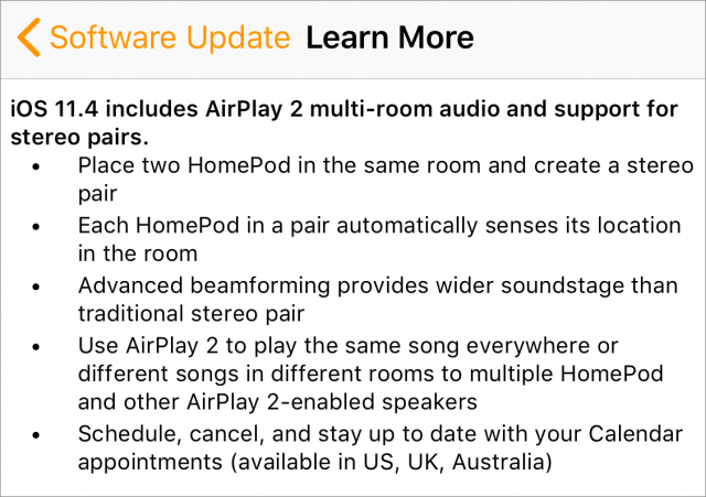 HomePod 11.4 release notes