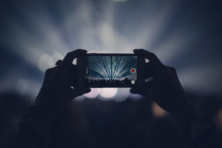 An iPhone recording a concert