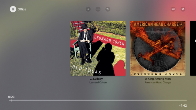 The output button in the tvOS Music app