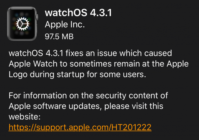 watchOS 4.3.1 release notes