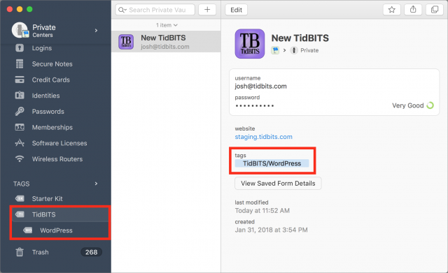 Ik markeer een inlog als TidBITS/WordPress en hij verschijnt als geneste tags in de navigatiekolom.