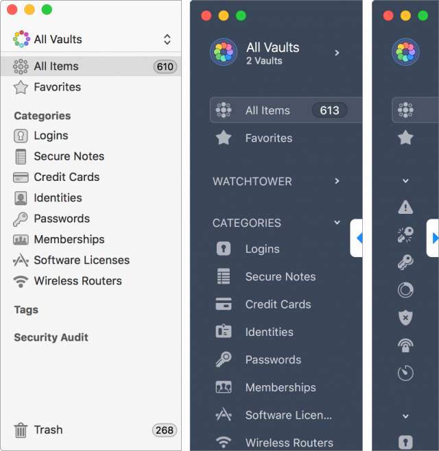 A comparison of the sidebar between 1Password 6 and 1Password 7.