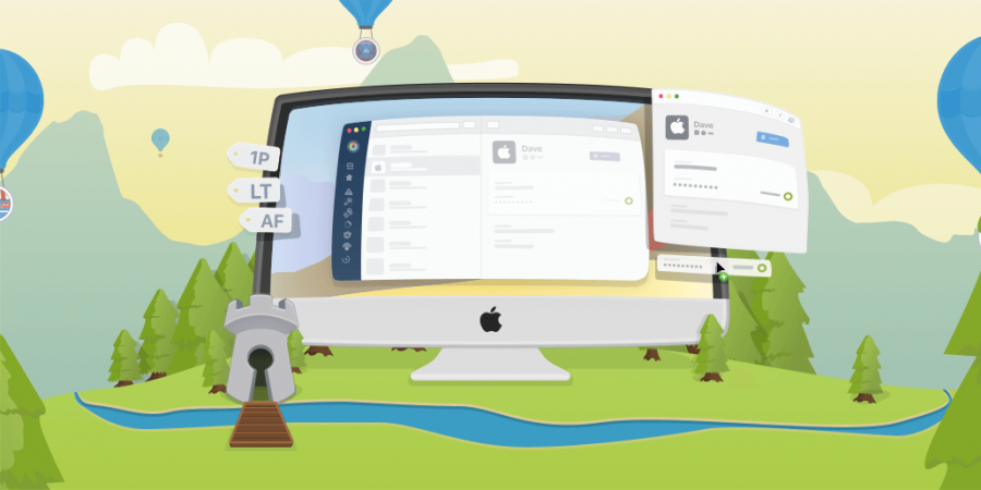 Some whimsical art AgileBits made to advertise 1Password 7.
