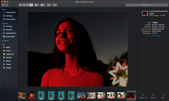 Gallery View in macOS Mojave