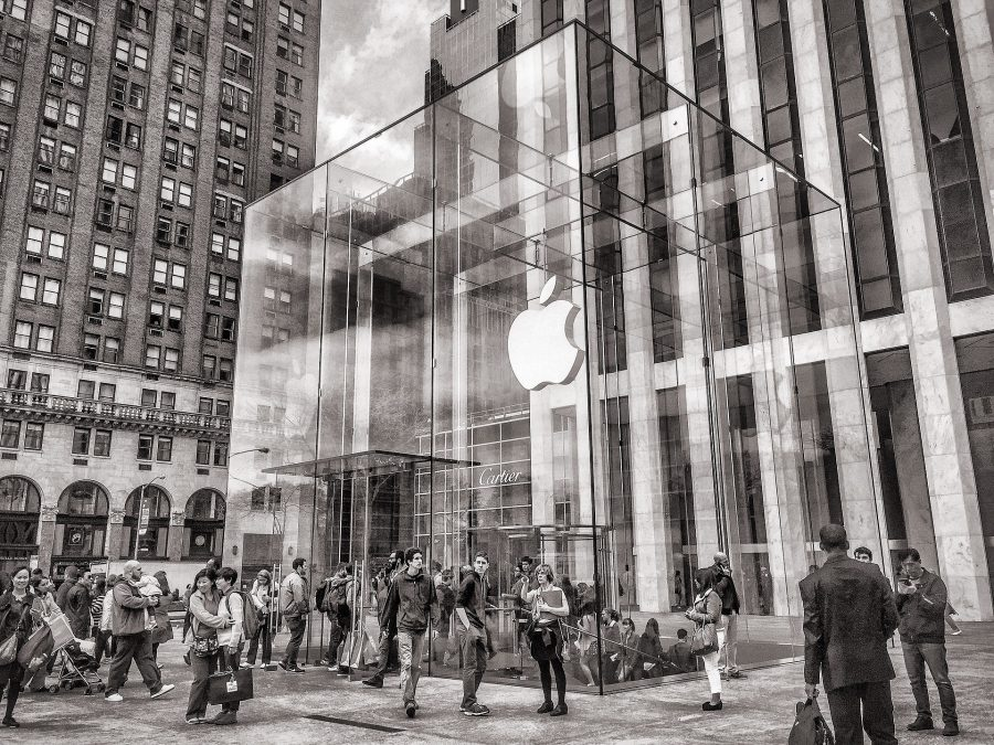 A glass Apple Store in black and white