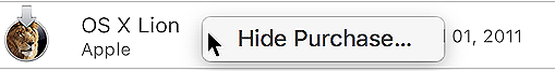 Hiding a purchase in the Mac App Store.