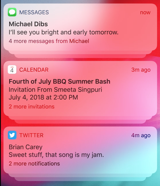 Notification groups in iOS 12