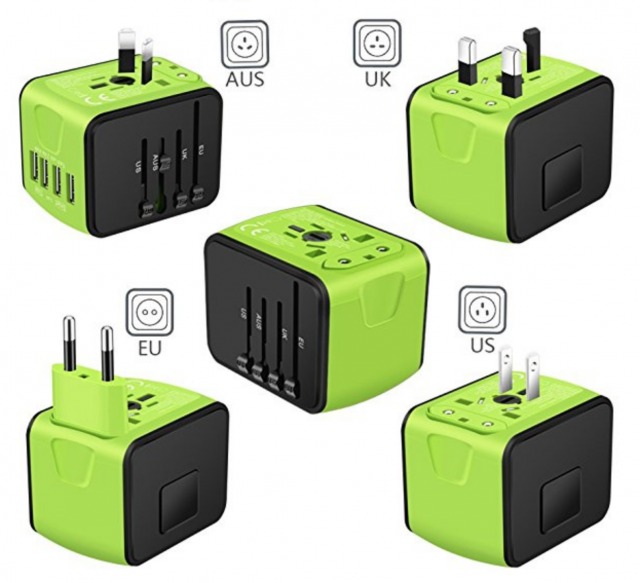 Saunorch International Power Adapter showing plug configurations