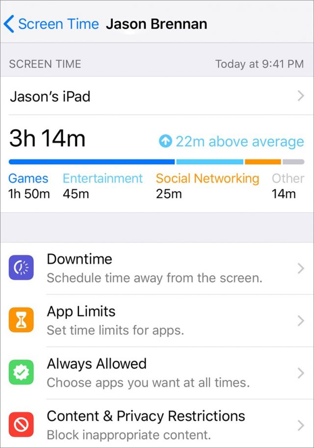 Screen Time settings in iOS 12