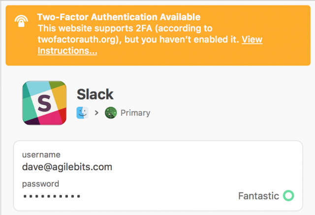 A Watchtower warning about two-factor authentication in 1Password 7.