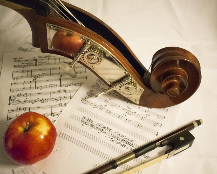 Some sheet music, an apple, the head of a violin, and a bow