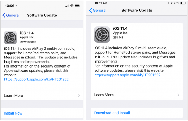 Screenshots showing the difference when iOS updates have and have not been downloaded.