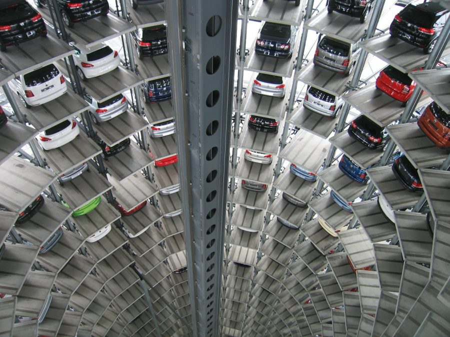 Cars in a warehouse.