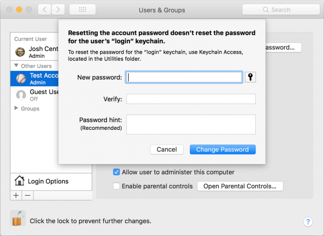 Resetting a password in System Preferences.