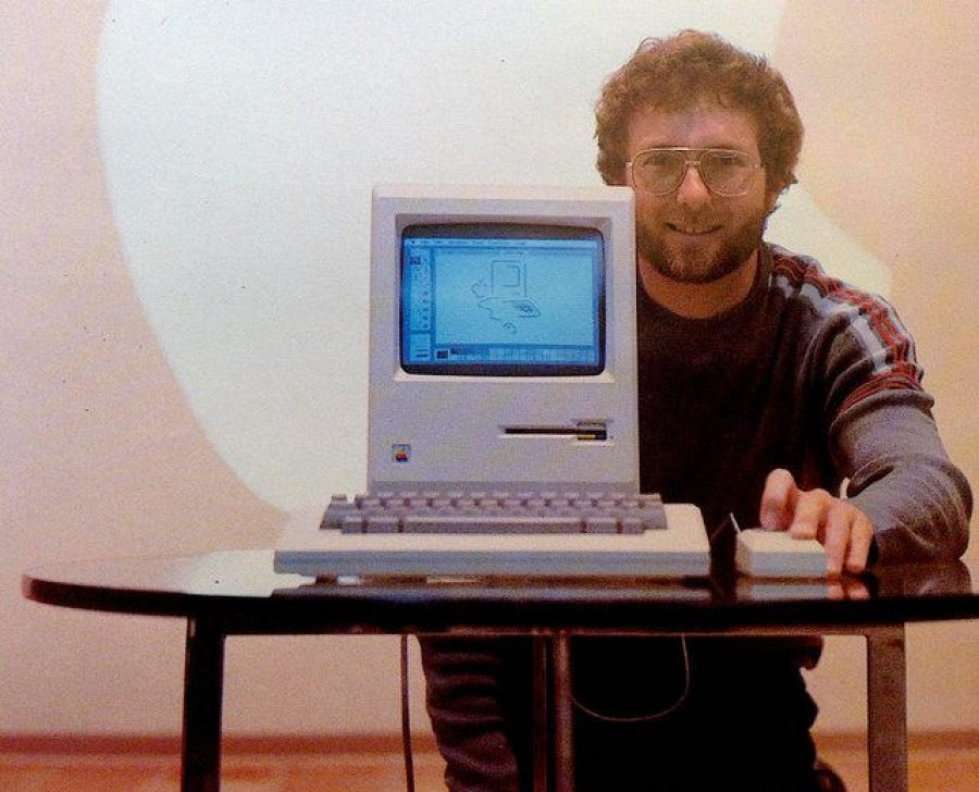 Joe Shelton with the Macintosh in the 1980s.