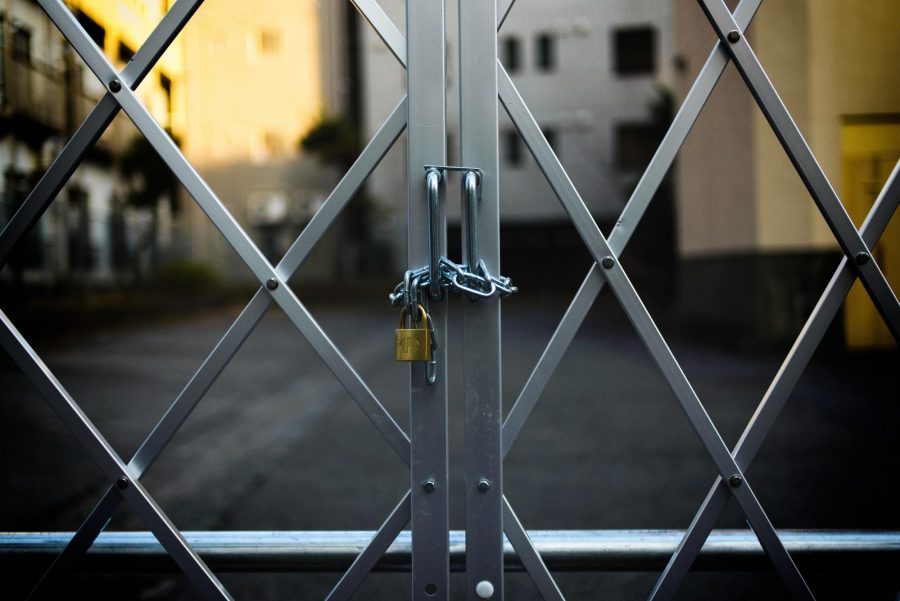 A locked gate.