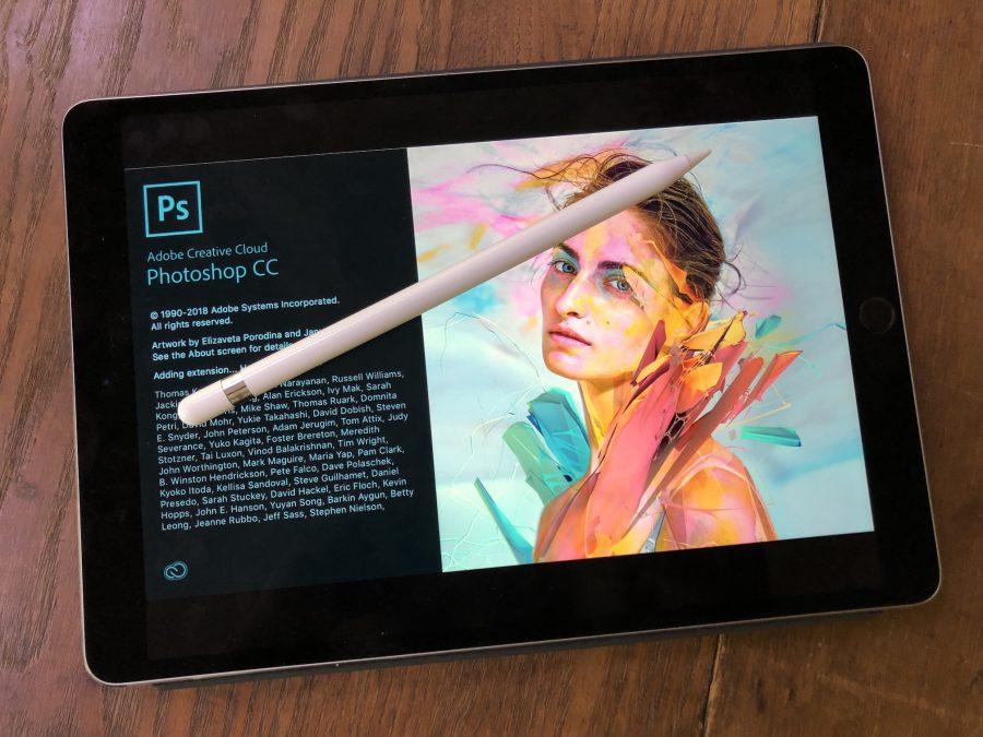 A mockup of Photoshop running on an iPad.