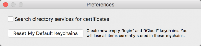 Resetting macOS keychains.