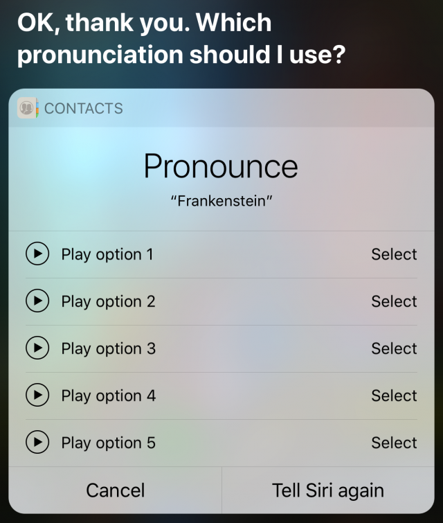 De uitspraak kiezen voor Siri.