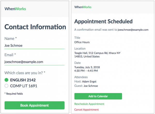 Screenshots of the WhenWorks booking process.
