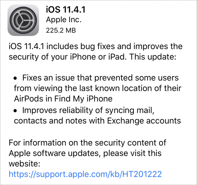iOS 11.4.1 release notes.
