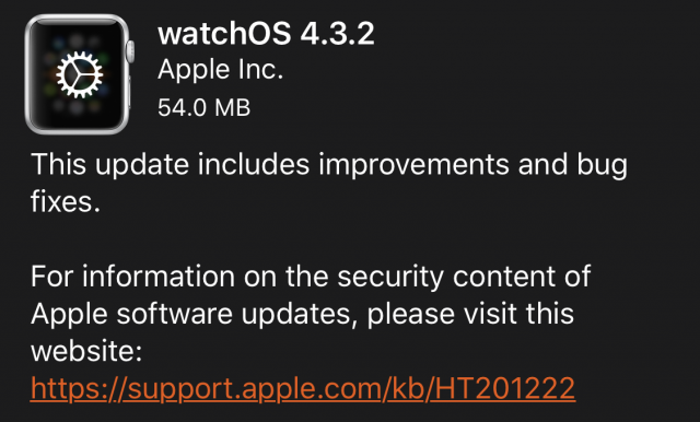 watchOS 4.3.2 release notes.