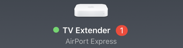 A red badge indicating an available AirPort update.