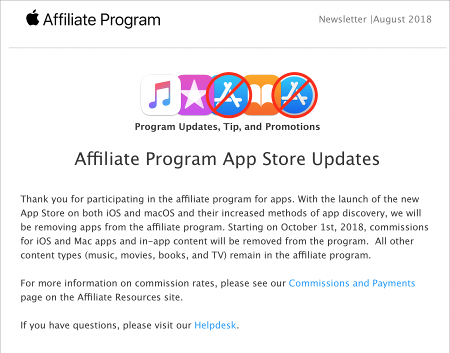 Apple to remove apps from iTunes Affiliate Program as of October 1
