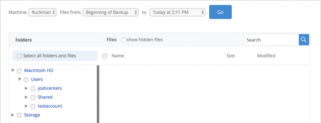 The Backblaze file browser.