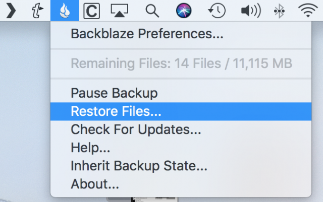 Restoring files from the Backblaze menu bar item.
