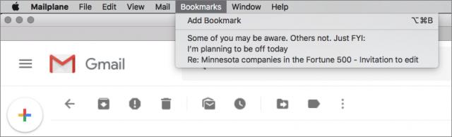 Bookmarks in Mailplane.