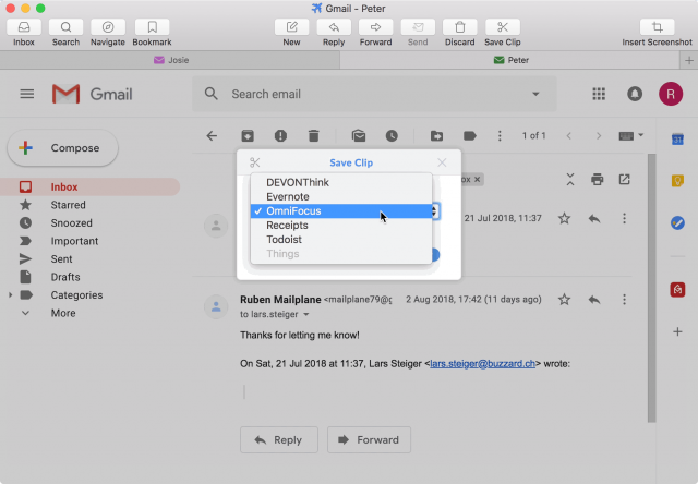 Clipping email in Mailplane.