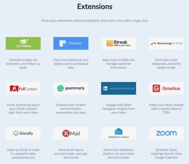 Chrome extensions that work with Mailplane 4.